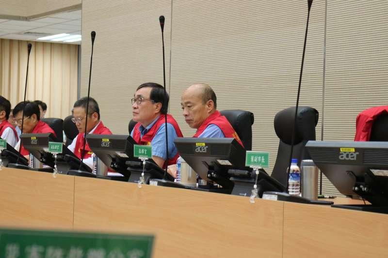高雄市長韓國瑜13日一早就邀請各相關單位召開防災會議。(高雄市政府提供)