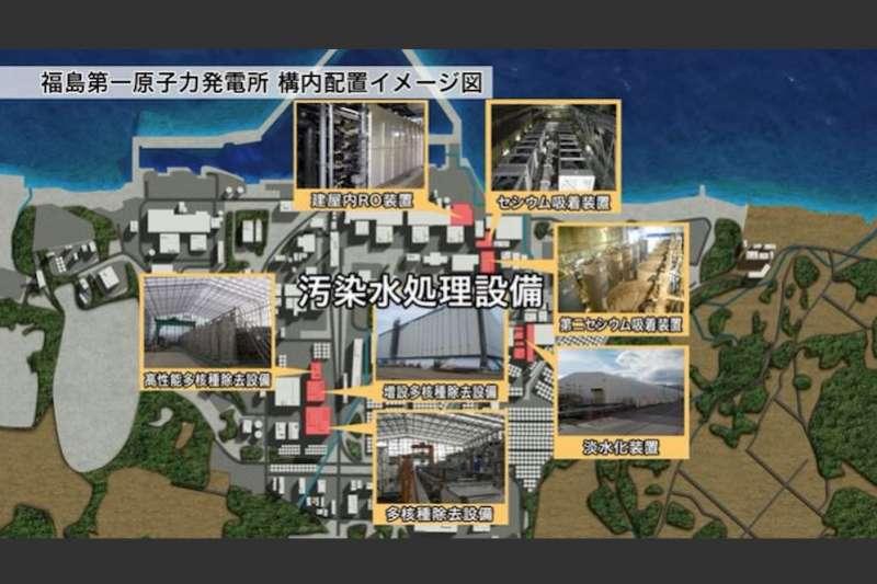 福島第一核電廠自2011年福島核災後,目前已全面停止運作,但廠內仍有許多汙水存放及過濾設施。(翻攝影片)