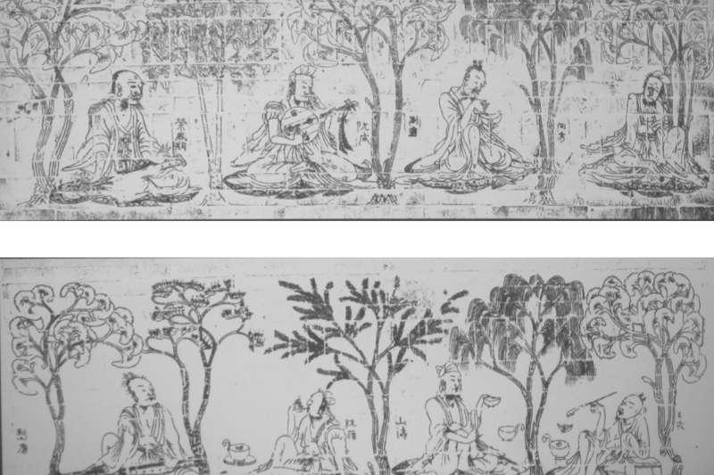 竹林七賢。由上至下,左至右分別為春秋隱士榮啟期、阮咸、劉伶、向秀、嵇康、阮籍、山濤、王戎。(取自維基百科)