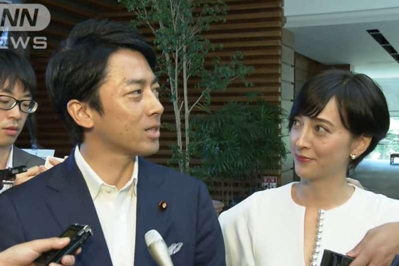 日本前首相小泉純一郎次子、國會眾議院議員小泉進次郎(左)7日宣布,將與日法混血藝人、人氣女主播瀧川雅美(右)結婚。(截圖自ANN NEWS@youtube)