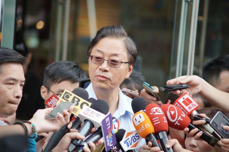 20190820-前行政院長張善政接受媒體聯訪。(盧逸峰攝)