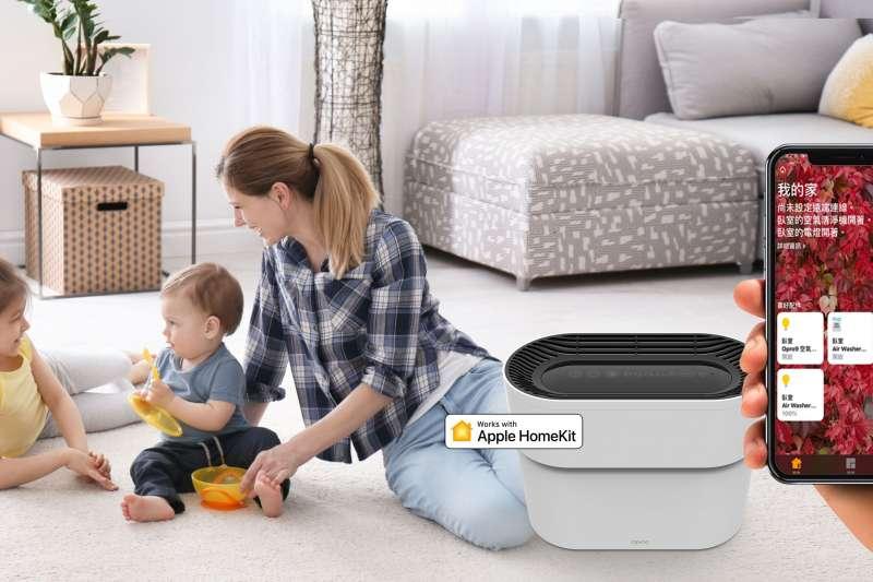 智能家居品牌「Opro9」推出空氣淨化器,通過Apple Homekit認證,用手機或平板即可控制排程(圖/Opro9 提供)