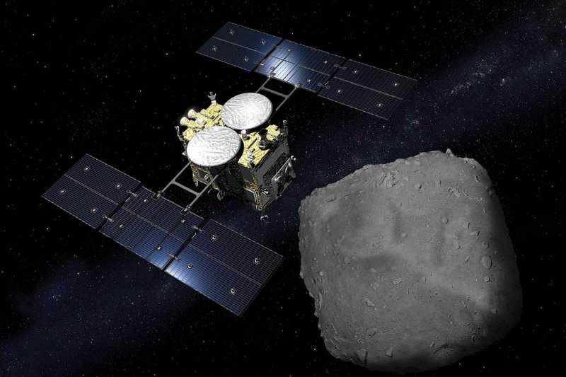 「隼鳥2號」與小行星「龍宮」。(JAXA)