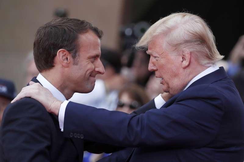 法國總統馬克宏(左)承認,2019年G7高峰會,不會對美國總統川普抱有太多期待。(AP)