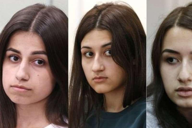 俄羅斯弒父三姐妹:18歲的安吉麗娜(左)、17歲的瑪麗亞(中)和19歲的克雷斯蒂娜(BBC)
