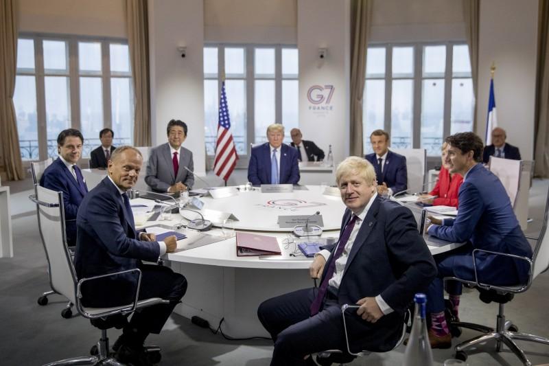 2019年G7國家領導人。(圖/AP)