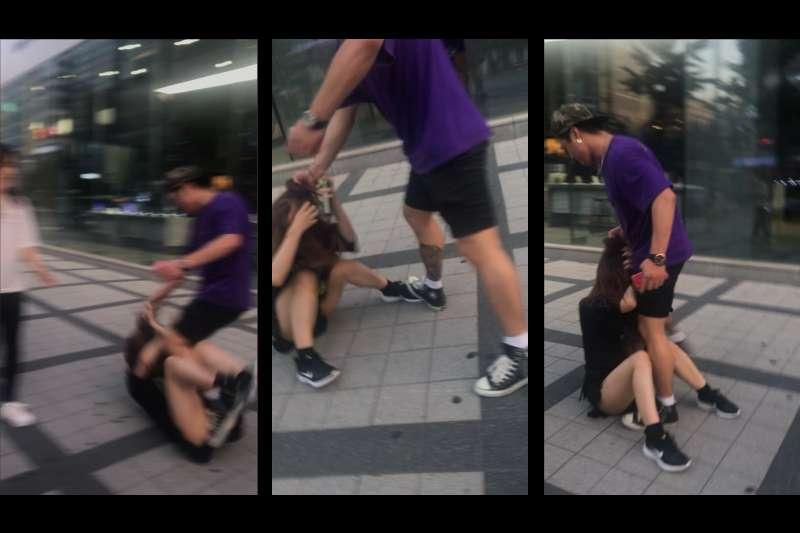 首爾一名韓國男子當街對一名日本年輕女性施暴,相關畫面在推特上廣為流傳。(翻攝推特)