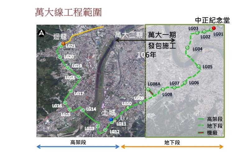 台北捷運萬大線工程範圍(台北市政府提供)。
