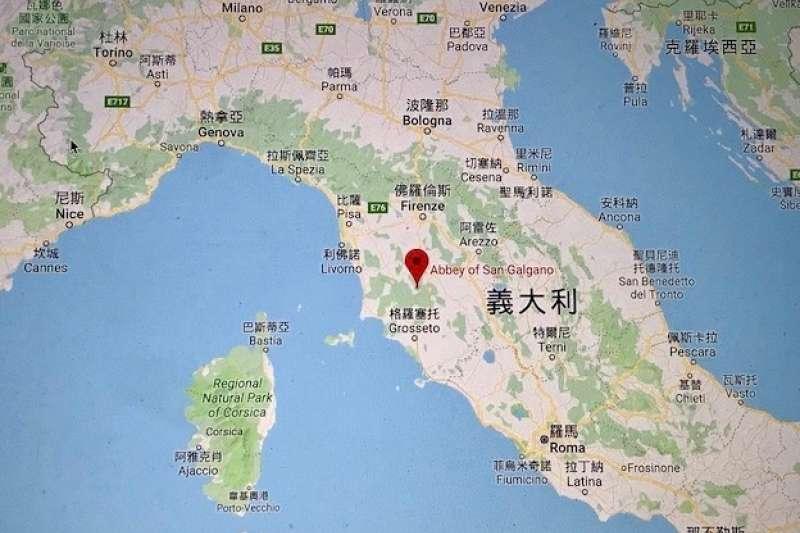 義大利聖咖額咖諾隱修院圖址