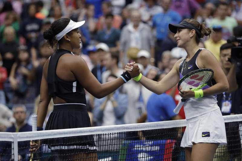 大坂直美在美網女單16強賽敗給瑞士女將班西琪,衛冕之路也因此中斷。 (美聯社)