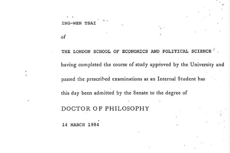 20190904-針對博士論文爭議,總統蔡英文4日提出相關證明文件。圖為校方留存原始畢業證書影本。(總統府提供)