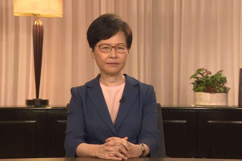 香港特首林鄭月娥4日傍晚5時47分左右於電視直播中正式回應民間反送中抗爭的「5大訴求」,正式撤回《逃犯條例》。(擷取自港府電視直播)