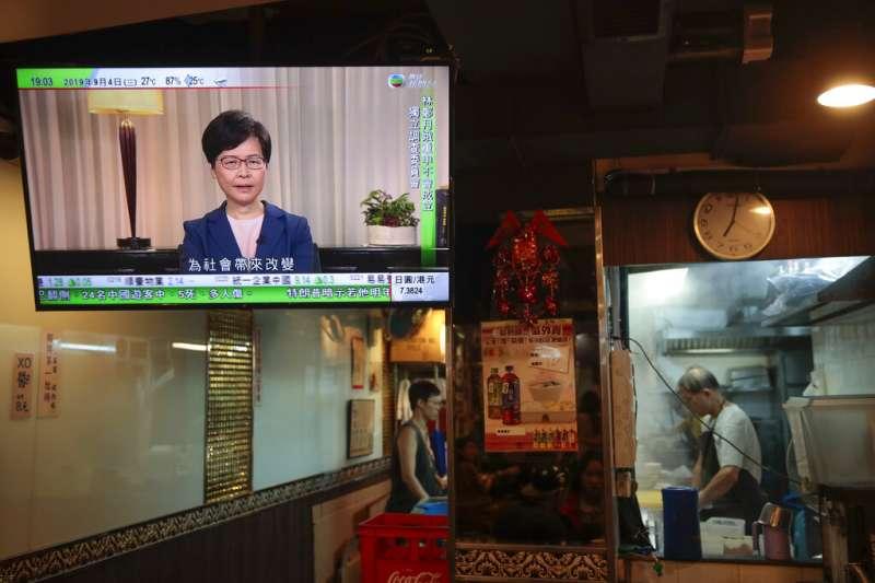 香港行政長官林鄭月娥4日發表預錄的電視談話,正式撤回《逃犯條例》修正草案。(美聯社)