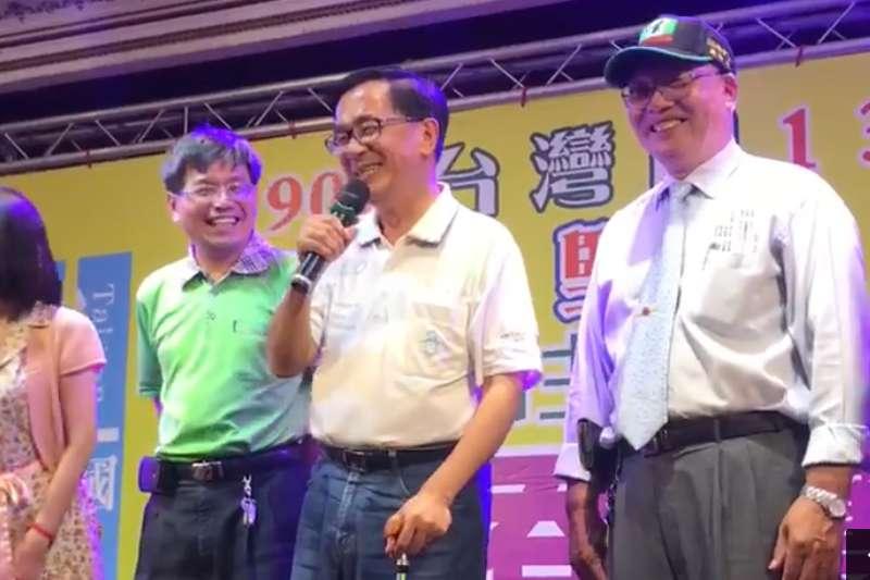 前總統陳水扁8日晚間參加台灣國的募款餐會,並上台替一邊一國行動黨拉票。(取自一邊一國行動黨臉書影片)
