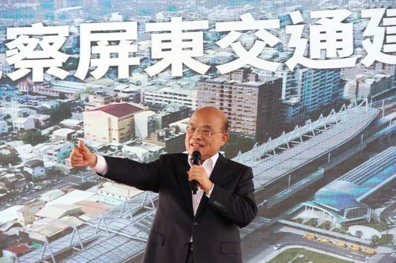 20190910-行政院長蘇貞昌(中)10日返回家鄉屏東,宣布高鐵將延伸到屏東,並要求路線盡速定案。(屏東縣政府提供)