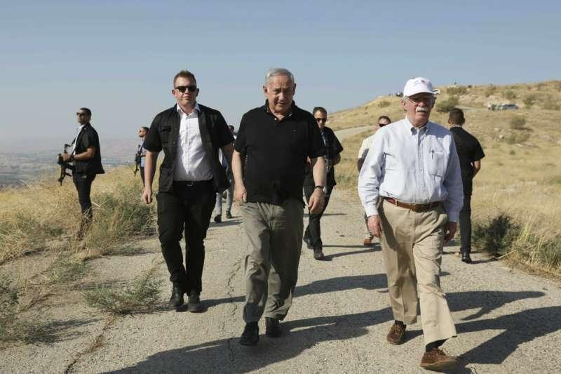 以色列總理納坦雅胡(Benjamin Netanyahu)與美國白宮國安顧問波頓(John Bolton)會面。納坦雅胡聲稱若選上總理將併吞約旦河西岸。(AP)