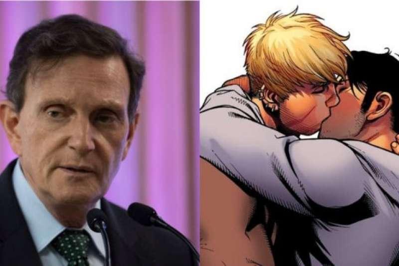 里約熱內盧的保守派市長克里維拉對於同性戀接吻這件事,並不太接受。(BBC中文網)