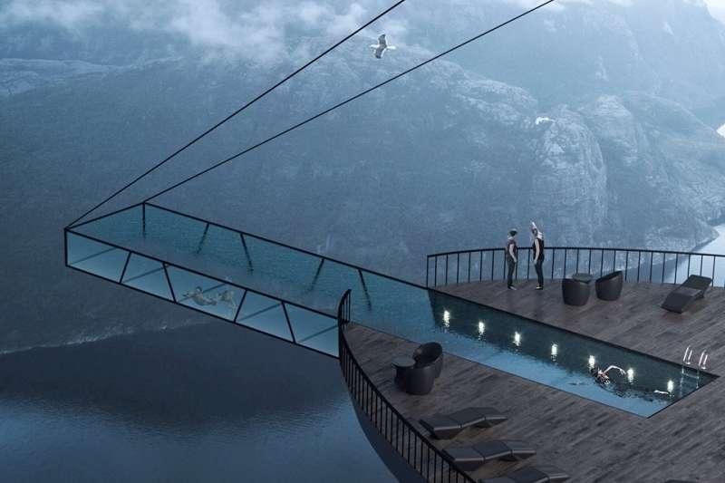 最底一層就是懸浮在高空的透明玻璃游泳池,只用兩條鋼筋牢牢固定著泳池,游到最前面風景應該不錯,但可能會怕爆...(圖/瘋設計)