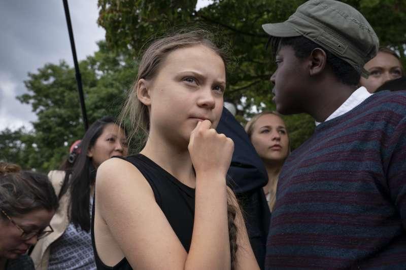 瑞典16歲少女通貝里為打擊全球暖化,不遺餘力。(美聯社)