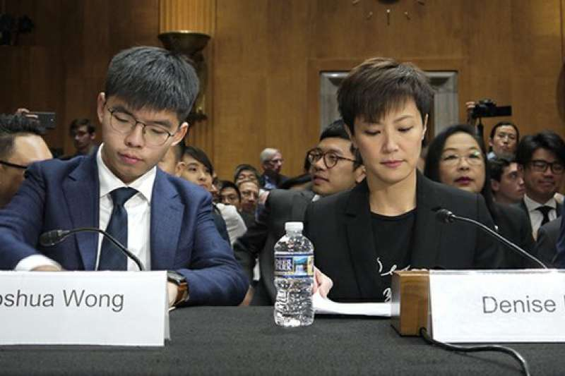 香港眾志秘書長黃之鋒與歌手何韻詩赴美國會作證,他們懇求民主,呼籲自由。(自由亞洲電台)