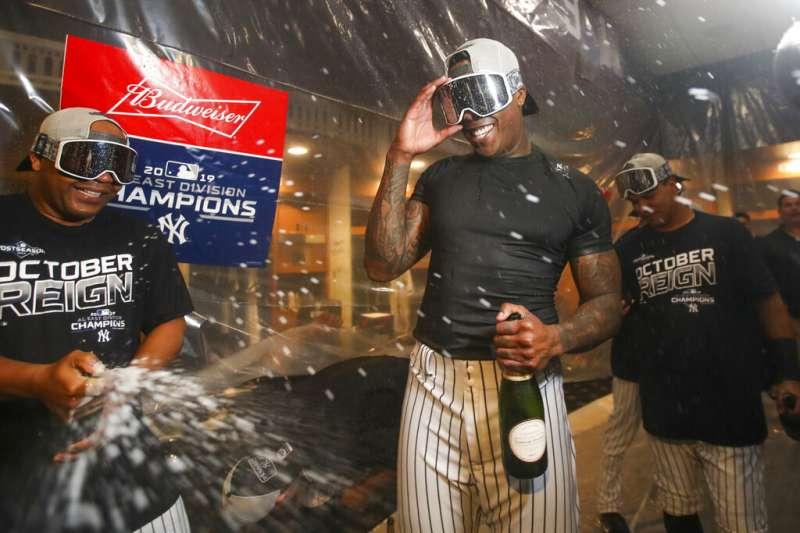 美國職棒大聯盟MLB紐約洋基隊19日主場9比1大勝洛杉磯天使,也是自2012年以後再度於美國聯盟東區封王。(美聯社)