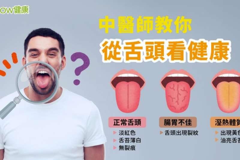 舌頭可以反映身體狀況,正常舌頭應為淡紅色,舌苔薄白、無裂痕,但腸胃狀況不佳的病患易出現舌頭裂紋,而溼熱體質病患則會出現黃色、油亮的舌苔。(圖/NOW健康)