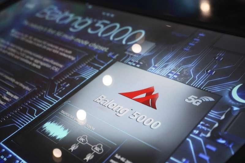 華為的5G終端通訊晶片Balong 5000。(資料照,美聯社)