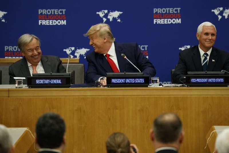 美國總統川普、美國副總統彭斯(右)與聯合國秘書長古特雷斯(左)出席在聯合國總部舉辦的宗教自由倡議會談(AP)