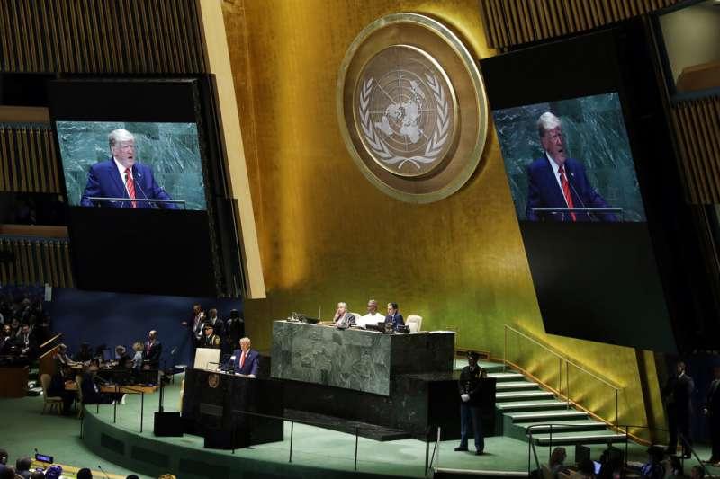 川普在聯合國大會發表演說。(美聯社)