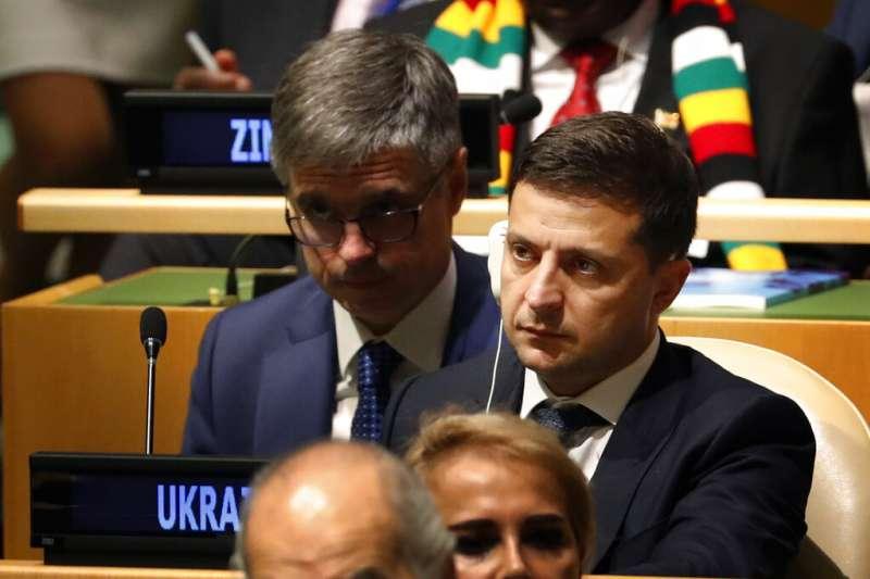 烏克蘭總統哲連斯基24日在聯合國大會。(AP)
