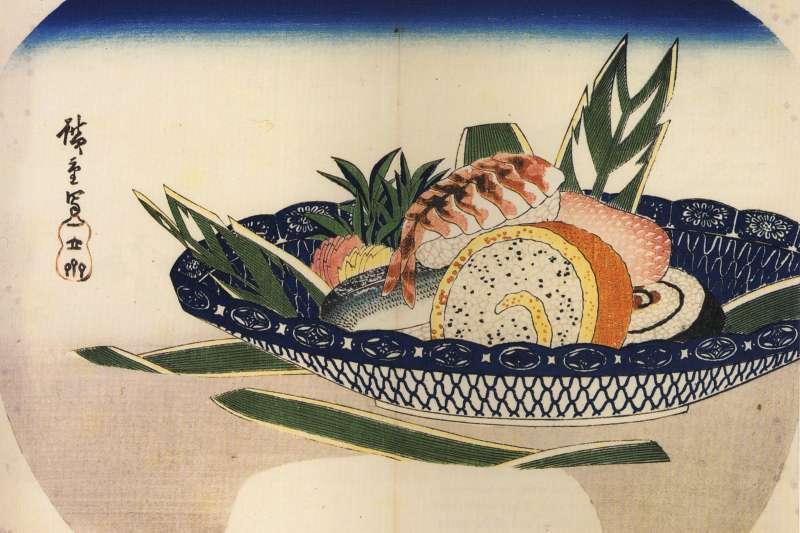 日本料理中如何選擇不同部位、季節、緯度等差異的「料」,以及如何開魚、去骨等方式的「理」,都會影響壽司最後的口感。圖為歌川廣重所繪。(資料照,取自維基百科)