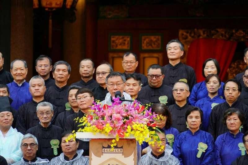 台北市長柯文哲認為,北京政府應發揮智慧、好好處理香港問題,「何必讓歐美國家有正當理由來抵制中國?」圖為柯28日前往孔廟參加祭孔大典。(台北市政府提供)