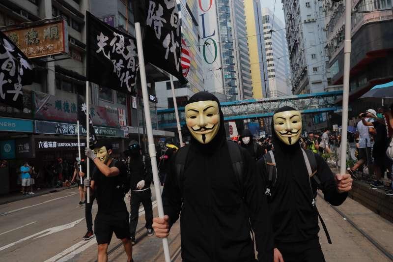2019年9月29日,香港反送中,「全球連線、共抗極權」大遊行(AP)