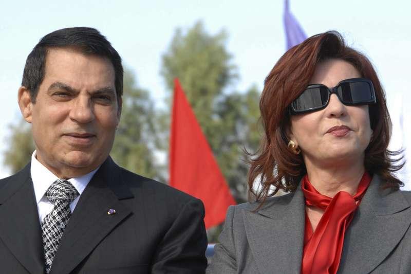突尼西亞總統本.阿里(Zine El Abidine Ben Ali)與妻子蕾拉(Leila)(AP)