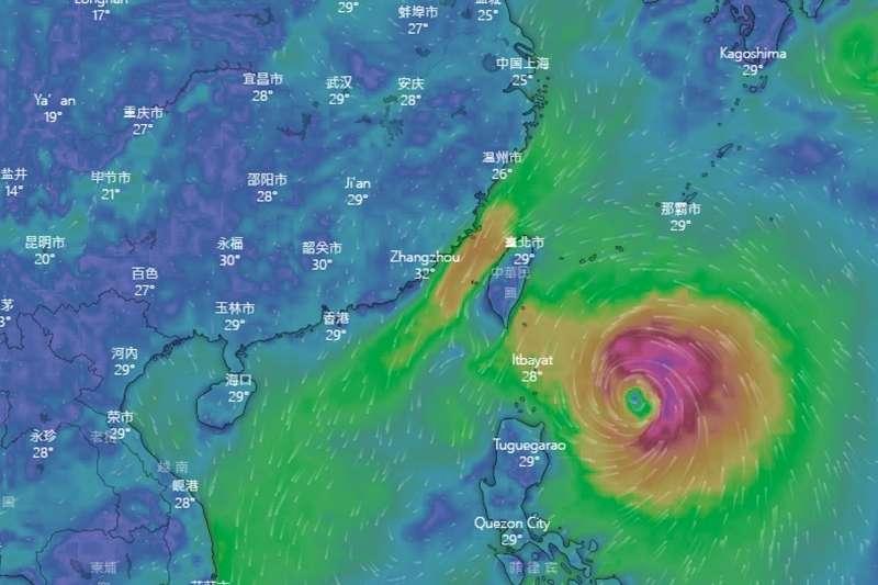 20190929-米塔颱風目前位於台灣東南方海面。(取自windy.com)