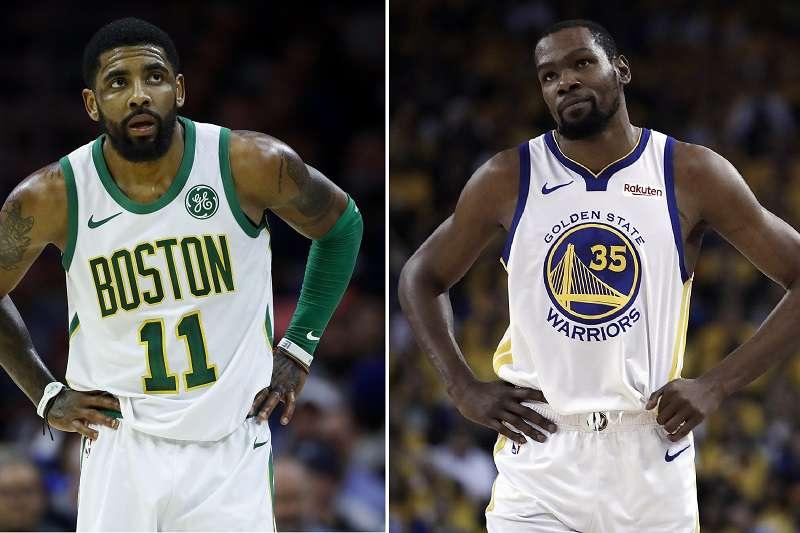 厄文(左)和杜蘭特(右)新賽季攜手加盟籃網。(美聯社)