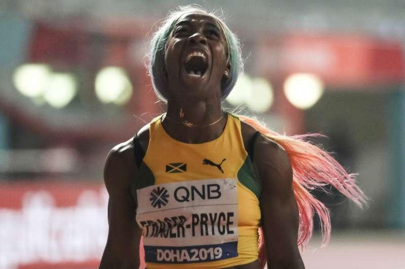 牙買加女子短跑名將佛瑞塞-普萊斯在世錦賽100公尺短跑四度摘金。 (美聯社)