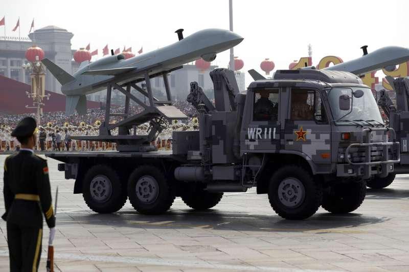 2019天安門大閱兵中,解放軍所展示的無人機。(美聯社)
