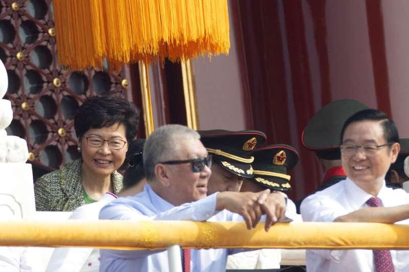 參與北京十一國慶大閱兵的香港行政長官林鄭月娥。(美聯社)