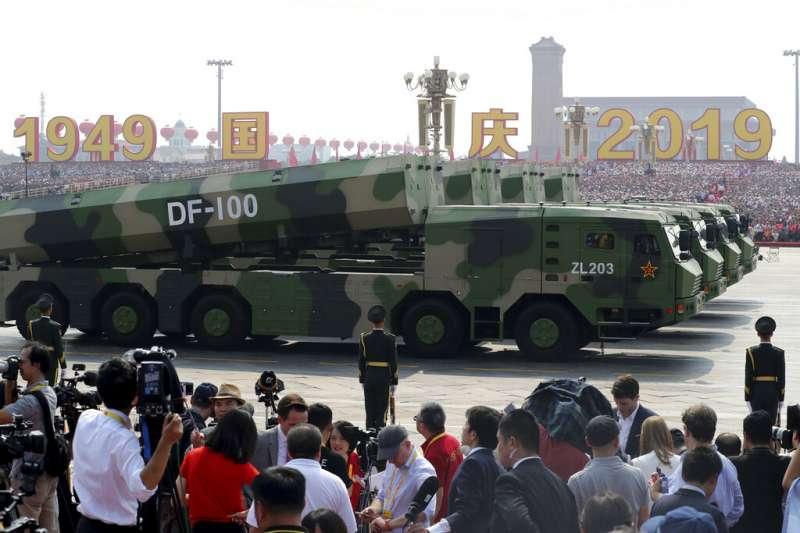 2019十一國慶大閱兵、解放軍、東風-100。(美聯社)
