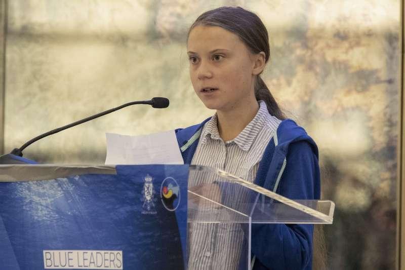 16歲少女、瑞典環保運動人士通貝里(Greta Thunberg),日前獲頒「正確生活方式獎」。(AP)