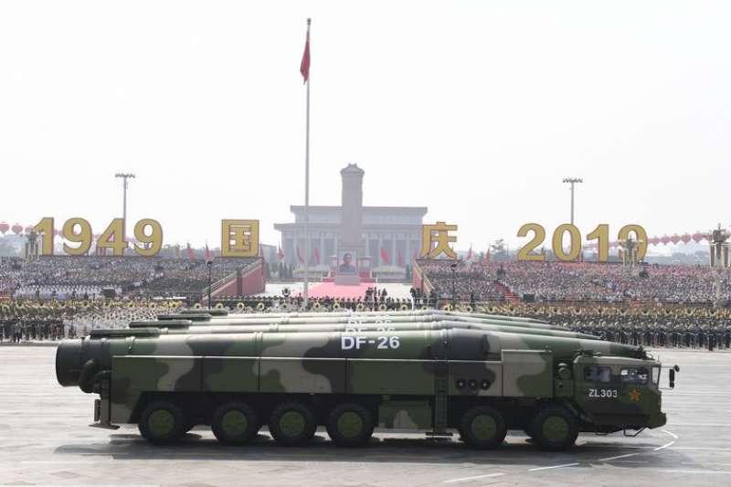 2019年10月1日,慶祝中華人民共和國成立70周年閱兵,東風-26核常兼備飛彈方隊。(新華社)