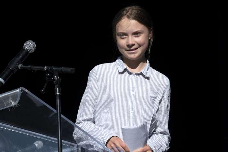極力喚醒世人對抗氣候變遷、全球暖化危機的瑞典少女鬥士通貝里(Greta Thunberg)(AP)