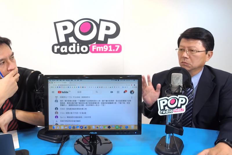 國民黨總統參選人韓國瑜南部競選辦公室副執行長謝龍介(右)7日上午接受《POP撞新聞》主持人黃暐瀚(左)專訪。(取自《POP撞新聞》節目影片截圖)