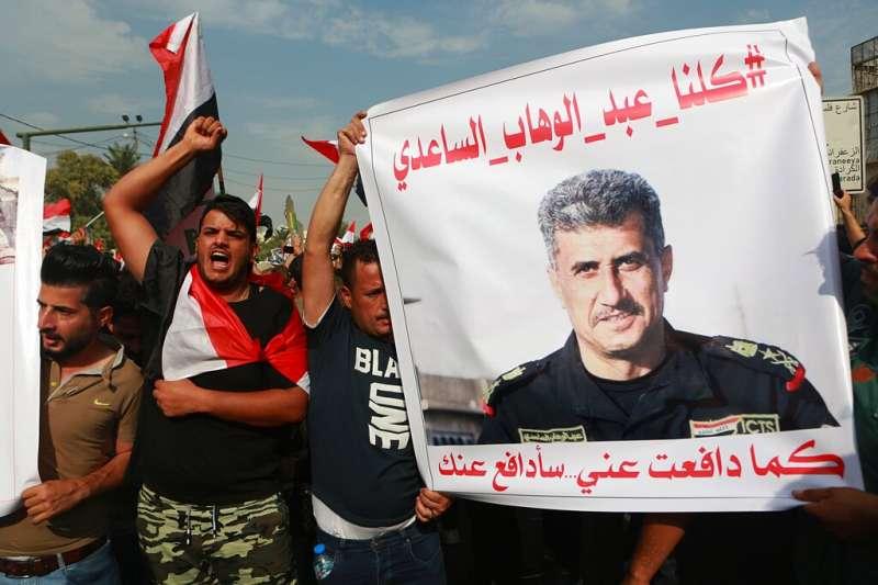 沙迪(Abdul-Wahab al-Saadi)成為伊拉克十月抗爭的圖騰。(美聯社)
