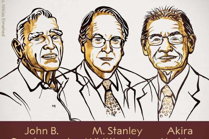 2019年諾貝爾化學獎得主,由左至右分別為古迪納夫、惠廷安與吉野彰。(取自@NobelPrize/Twitter)