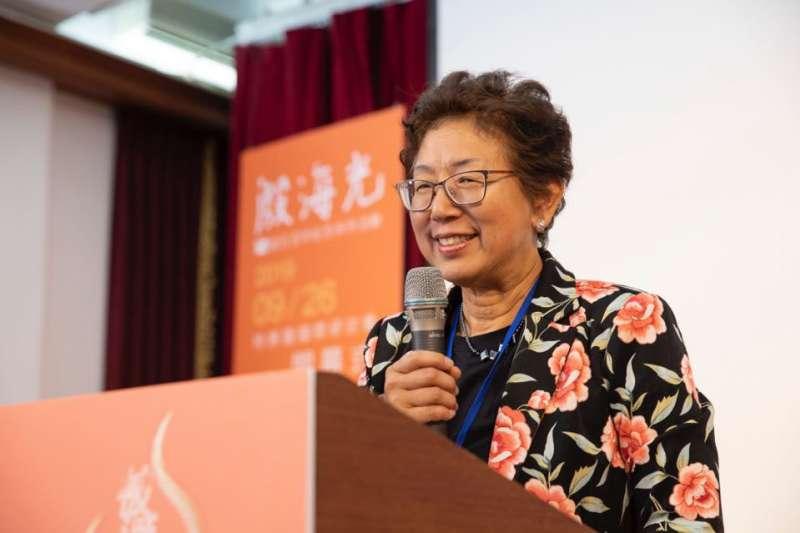 殷海光女兒殷文麗返台參加紀念活動,她稱許香港抗爭。(殷海光基金會提供)