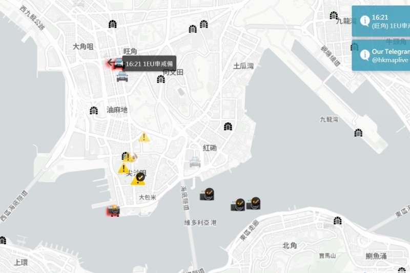 「HKmap.live」即時地圖電腦版畫面。(圖/HKmap.live)