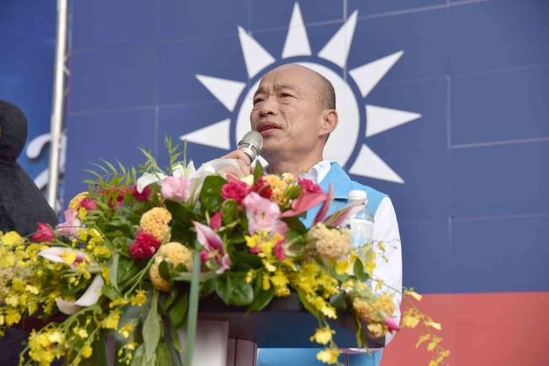 高雄市長韓國瑜10日在高雄市政府國慶升旗典禮上致詞,期許中華民國自由民主、創造兩岸和平穩定的發展。(高雄市政府提供)