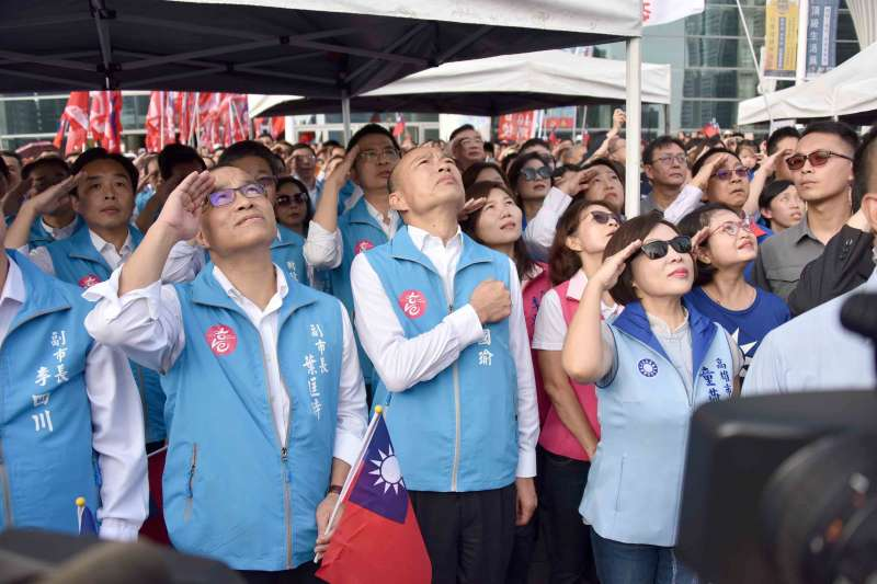 20191010-高雄國慶典禮,市長韓國瑜敬禮。(高雄市政府提供)